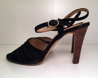 Vintage O'Neils's Black Suede Leather Stacked High Heel Sandals / Open Toe / 70's / Womens Size 8.5