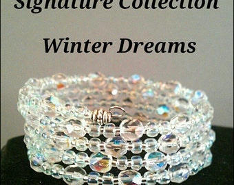 Crystal Memory Wire Bracelet / wrap around bracelet /coil bracelet / crystal bracelet / bridesmaid gifts / claspless bracelet