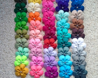 Solid colored flower hair clips
