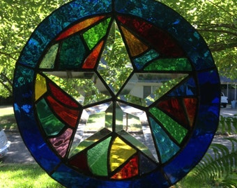 "Stained Glass Window Suncatcher in Stunning Colors-Abstract Bevel Star 9"" Round"