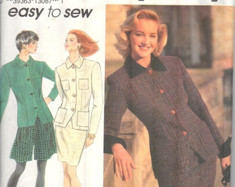 """Simplicity 8038, Sz 6-10/Bust 30.5-32.50"""".  EASY Ladies Suit pattern with Culottes or Skirt option. Jacket with Cuffs, copyright 1992."""