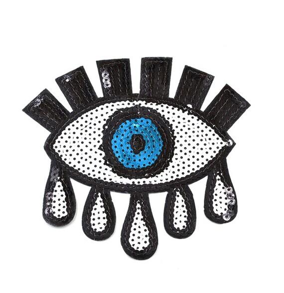 5 5 sew on iron on sequin applique blue teary eyes black. Black Bedroom Furniture Sets. Home Design Ideas
