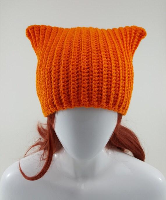 Crochet Orange Cat Ear Beanie/Hat