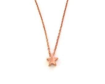 Star Mini pendant Rosé gold on fine chain with map