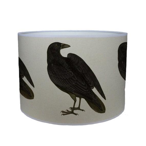 Bird Lamp Shades: Black Bird Shade/ Lamp Shade/ Ceiling Shade/ Drum Lampshade/