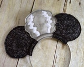 Minnie Bride of Frankenstein Mouse Ears.  Inspired by Minnie Mouse,  Disney and A Not so Scary Halloween party.