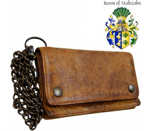 Men's chain wallet CARNEGIE of brown rugged-hide leather