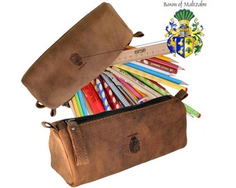 Large pencil case EPICURUS made of brown grassland leather - BARON of MALTZAHN