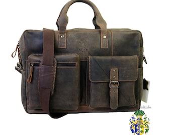 17 inch Laptop Case - Briefcase DALI brown genuine leather - BARON of MALTZAHN