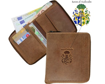 Wallet CHODORKOWSKI made of brown leather - BARON of MALTZAHN