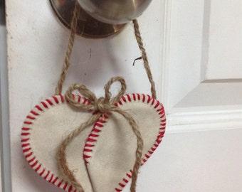 Authentic Baseball Heart Ornament.