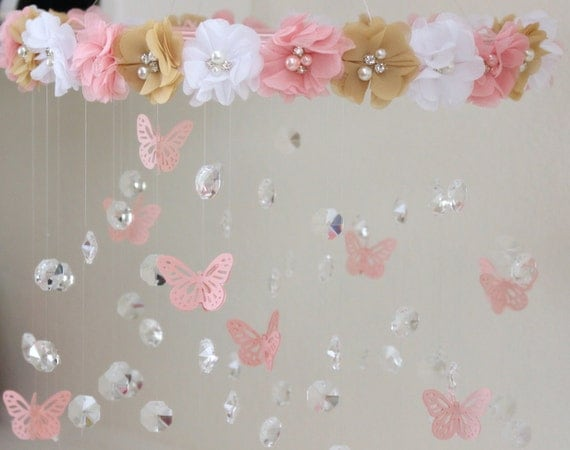crystal baby mobile pink baby mobile flower baby mobile