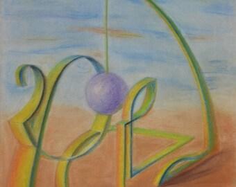 Desert Pendulum - Original Soft Pastel Drawing - Free Shipping Worldwide!!!