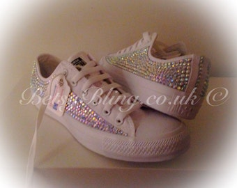 SALE **15% off original price** All over Crystal Lo top Converse 'No Toes'-ANY colours. Free UK delivery
