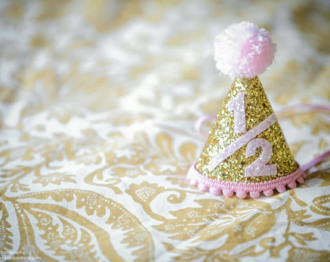 Half Birthday Mini Glittery Party Hat | Half Birthday | Baby | Birthday | Cake Smash | 6 Month Party | Gold Party Hat | Photo Prop