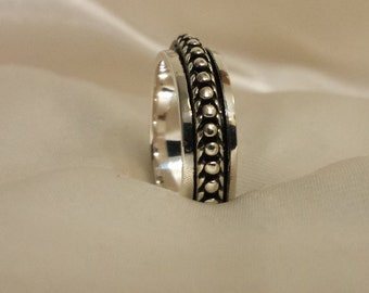 Beaded .925 Sterling Silver Stackable Spinner Ring