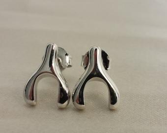 Sterling silver wishbone 11MM small stud earrings, silver wishbone earrings