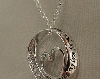 CZ Sterling Silver Mother's love necklace