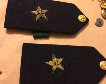 Vintage Pair Of WWII Navy Shoulder Boards Single Bullion Stars