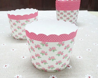 CLEARANCE SALE! Baby Pink Small Rose Floral Baking Cups Muffins Cups Treat Cups (20)