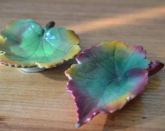 Vintage leaf bowls condiment dish cermaic