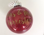 Personalised Christmas Glitter Bauble - For The Newly Married Couple, Wedding Gift