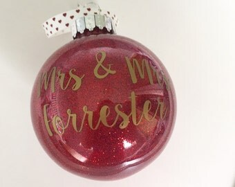 Personalised Christmas Glitter Bauble - For The Newly Married Couple, Wedding Gift / Xmas Decoration
