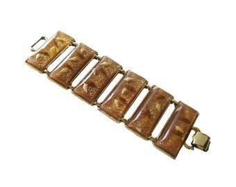 Lucite Gold Glitter and Shell Bracelet Extra Wide - Vintage Jewelry - 1950s Bracelet - Pin Up Girl Bracelet