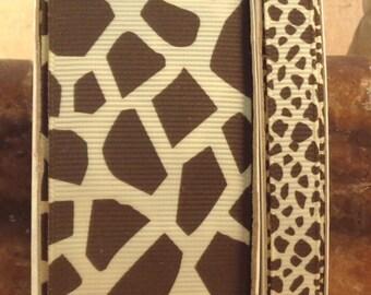 "2 Yards 3/8"" or 1.5"" Ivory & Brown Giraffe Print Grosgrain Ribbon - US Designer"