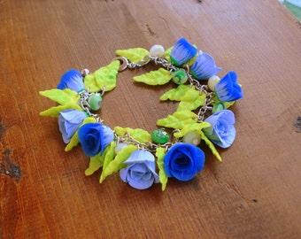 Polymer Clay Jewelry Flower Charm Bracelet Handmade