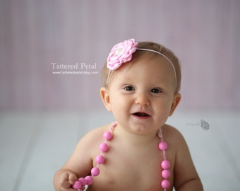 Pink headband, pink baby headband, pink flower headband, pink dainty headband, dainty pink headband, baby pink, dainty photo prop