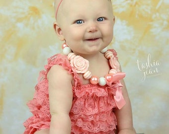 Coral romper, coral jumper, coral lace, lace petti romper, coral and ivory, lace romper, coral photo prop, newborn photography, coral baby
