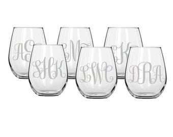 Set of 6 Monogrammed Stemless Etched Wine Glasses