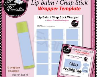 Chap Stick - Lip Balm Wrapper - Gift or Party Favor TEMPLATE by Boop Printables