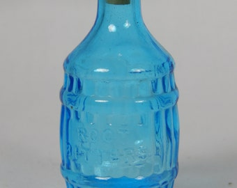 """Vintage Miniature """"Root Bitters"""" Blue Bottle By Wheaton Glass Co."""