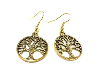 SALE! Gold Tree of Life Earrings, Tree Earrings,Gold Earrings, Tree of Life Jewellery, Nature Earrings, Simple Earrings, Boho Earrings