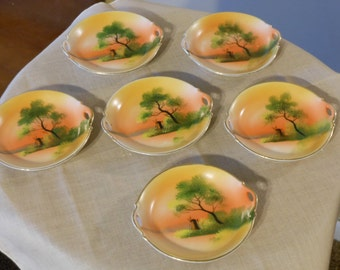 Six Hand Painted Noritake Morimura Two-Handled Butter Pats