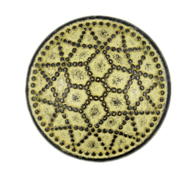 Metal Buttons Star Polygon Domed Gunmetal Yellow