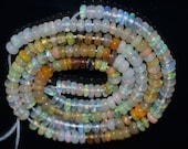 "32.80 Cts 15"" Natural Ethiopian Welo Fire Opal Smooth Rondelle Beads - Untreated - Nº 2363"