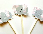Elephant Cupcake Toppers, Chevron Elephant Cupcake Toppers