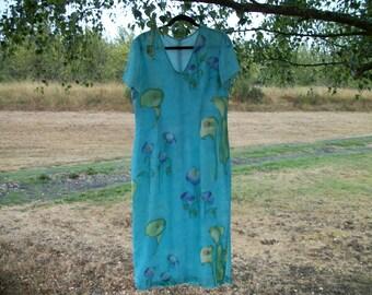 Delightful Soft AQUA FLORALS Long Semi CREPE Dress, Med