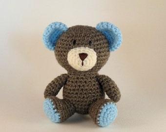 Blue Teddy Bear, Baby Bear, Mini Amigurumi Bear, Crochet Bear Toy, Plush Bear, Baby Boy, Baby Safe, Nursery Decor, Baby Shower Gift