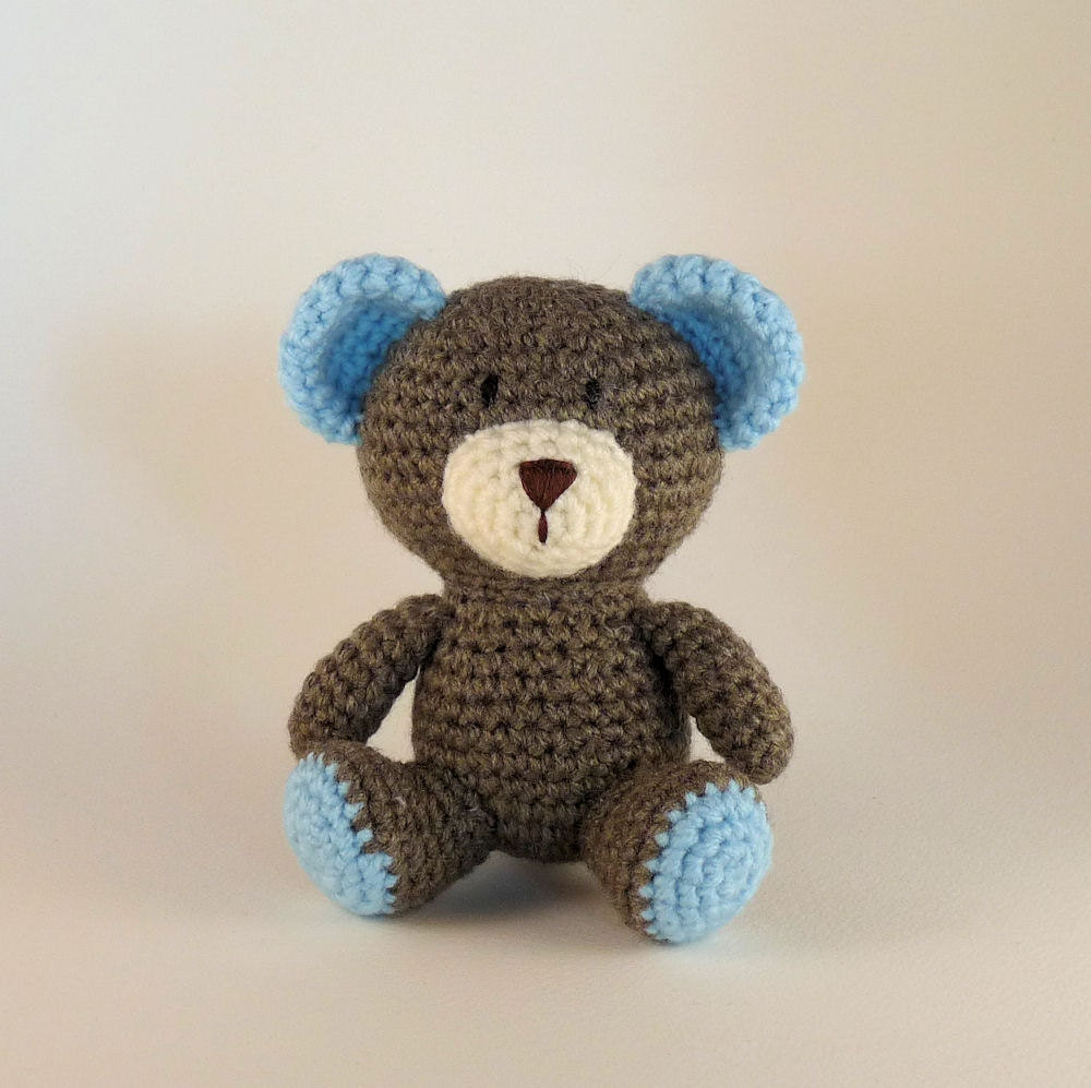 Amigurumi Baby Shower Bears : Blue Teddy Bear Baby Bear Mini Amigurumi Bear Crochet Bear