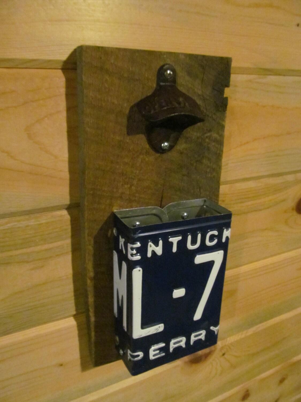 bottle opener cap catcher made with vintage kentucky state. Black Bedroom Furniture Sets. Home Design Ideas