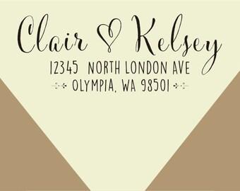custom  Stamp - Wedding Return Address Stamp - custom family return address - wedding address-Calligraphy Stamp -custom  address stamp