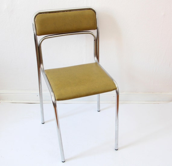 Vintage chair 60s 70s german chair green leather chrome for Vintage 70s chair