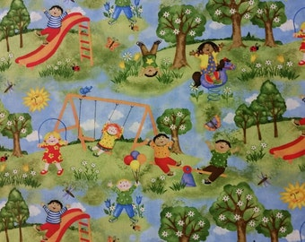 Kids playing on Playground Adorable fat quarter - High Quality Quilt Cotton