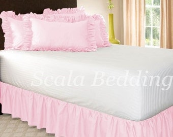 Dust Ruffle Bed Skirt 800 TC 100% Egyptian Cotton Pink Select Size