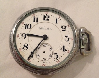 Antique Hamilton Pocket Watch in Working Condition; Needs TLC