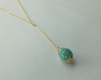 Turquoise Pave Lariat Necklace